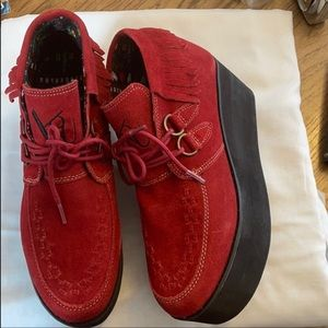 YRU RED/RUST PLATFORM MICROSUEDE SHOES.  N…